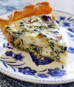 Spinach, Bacon, Cream Cheese and Swiss Quiche