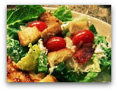 Caesar Salad with Crisp Prosciutto, Homemade Soft Croutons and Freshly Grated Parmesan