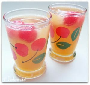 Apricot Coolers with Cherry Ice Cubes