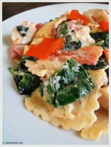 Ravioli with Italian Cheese & Herb Cream Sauce, Chicken and Veggies