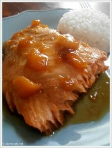 Orange-Pecan Salmon with Sticky Rice