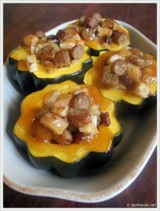 Acorn Squash with Apple & Sausage Stuffing with Apple Glaze