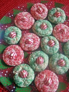 Candy Cane Kissed Cookies