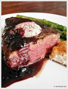 Filet Mignon with Red Wine Boysenberry Reduction and Fried Goat Cheese Rounds