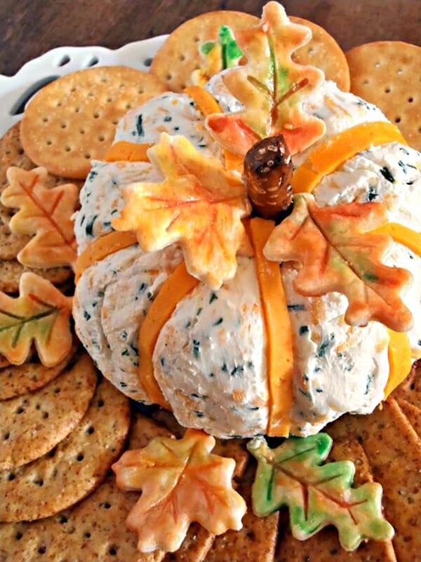 Cheddar & Chive Pumpkin Cheese Ball