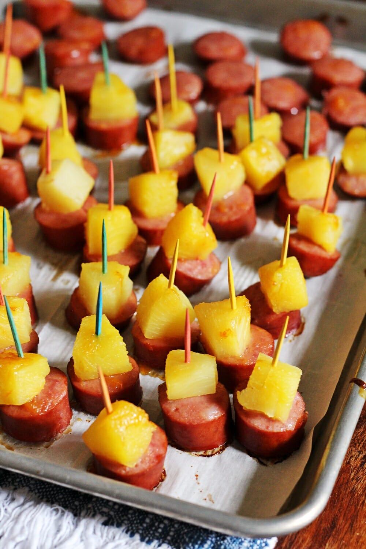 Glazed Kielbasa Pineapple Bites
