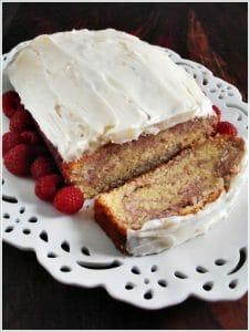 Starbucks Copycat – Raspberry Swirl Pound Cake with Cream Cheese Frosting