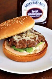 Barbecue, Monterey Jack & Avocado Burgers #SweetBabyRays