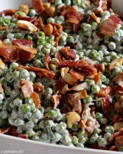 Crunchy Pea Salad with Bacon & Cashews