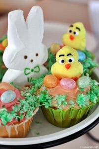 Easter Cupcakes + How to make green dyed shredded coconut