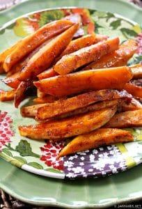 Roasted Sweet Potatoes with Honey & Cinnamon Glaze