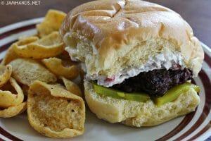 Burgers with Zesty Cream Cheese Pimento Spread