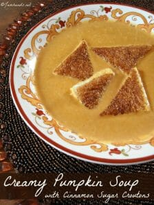 Creamy Pumpkin Soup with Cinnamon Sugar Croutons