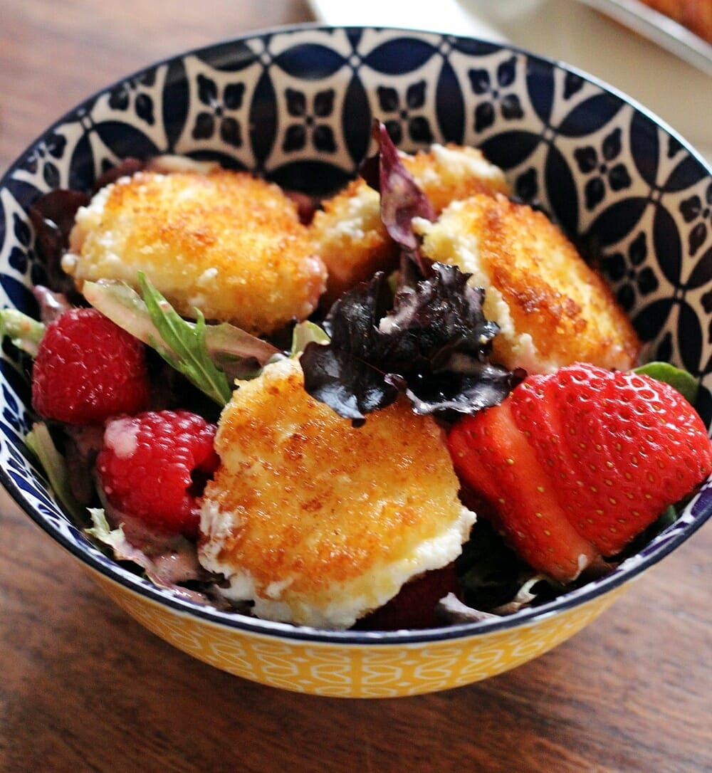 Fried Goat Cheese Salad with Quick Berry Dressing
