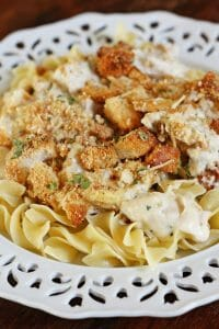 Garlic and Parmesan Chicken Casserole with  Crouton Topping